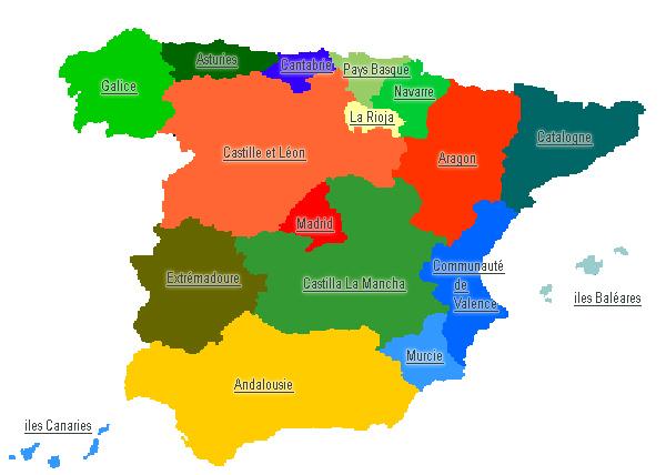 Carte Region Andalousie.Carte Espagne Avec Region